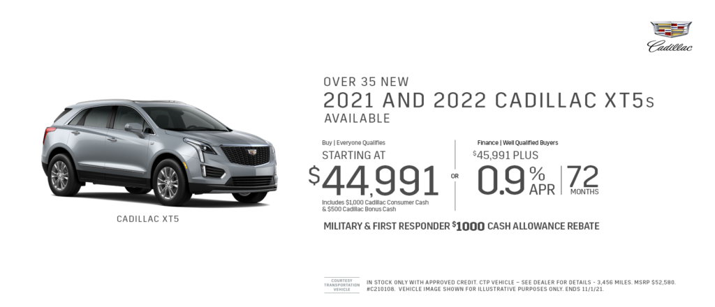 New 2021 & 2022 Cadillac XT5