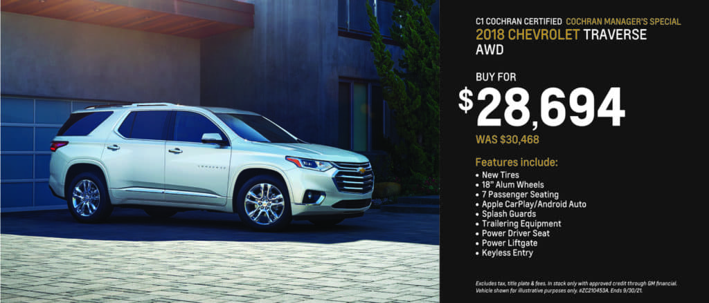 Certified Preowned 2018 Chevrolet Traverse