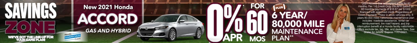 New 2021 Honda Accord - 0% APR for 60 months - Act Now