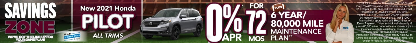 New 2021 Honda Pilot All Trims - 0% APR for 72 months - Act Now
