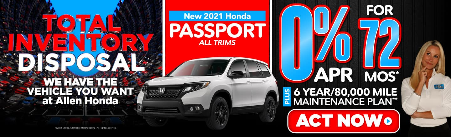 New 2021 Honda Passport All Trims - 0% APR for 72 months - Act Now