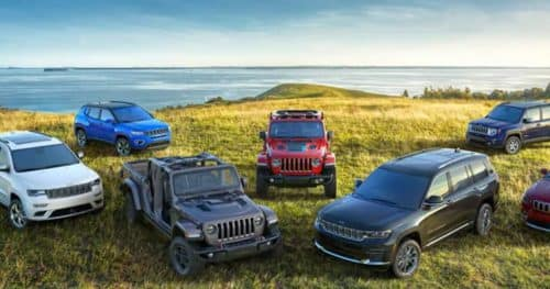 A bunch of different Chrysler Dodge Jeep and Ram Vehicles parked on the grass