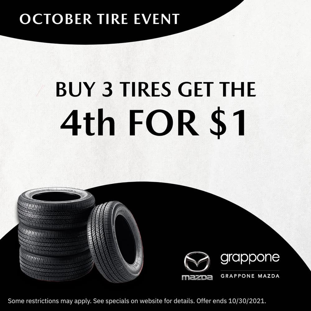 october tire event. buy 3 tires get the 4th for $1