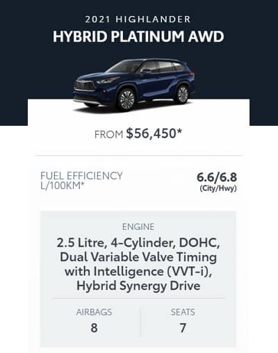 2021 Highlander Hybrid Platinum AWD