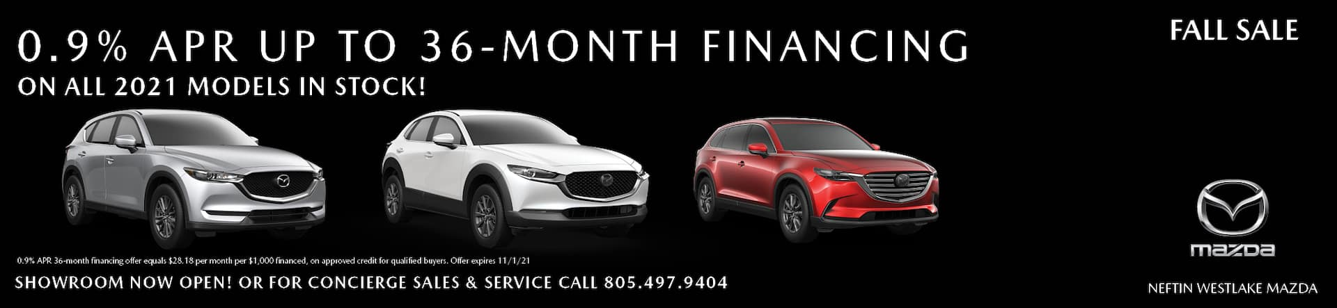 0.9% APR Financing up to 36 months
