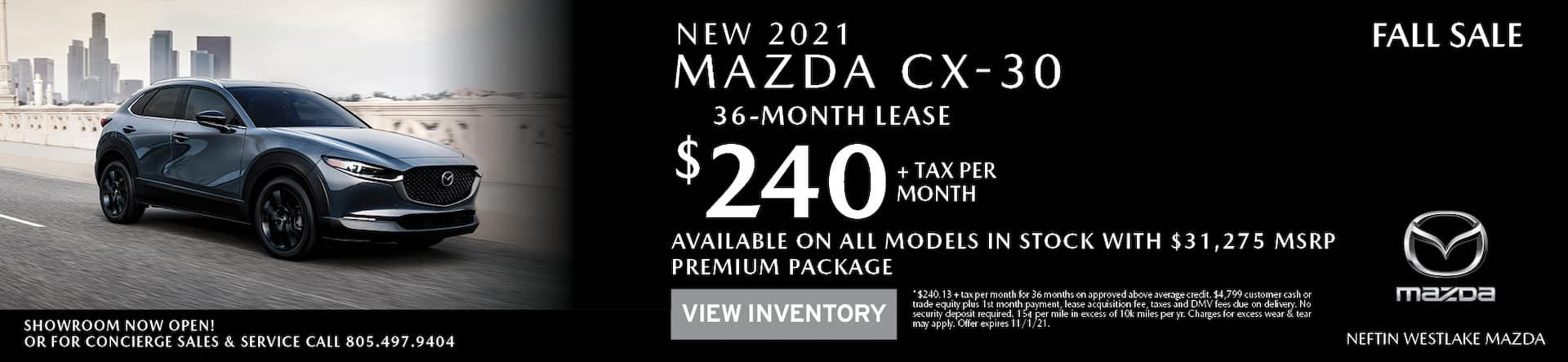 Neftin Westlake Mazda October 2021 CX-30 Lease Offer