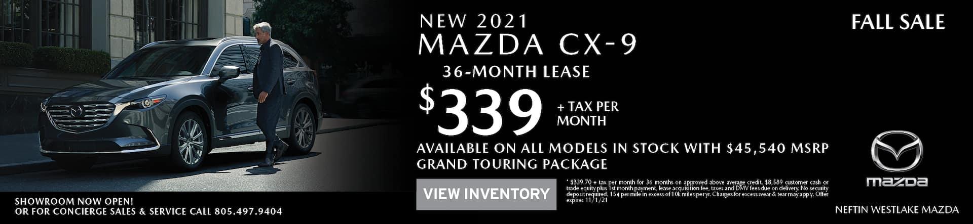 Neftin Westlake Mazda October 2021 CX-9 Lease Offer