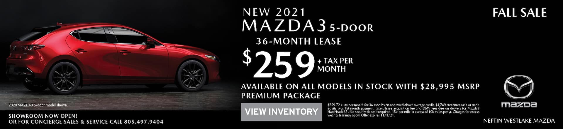 Neftin Westlake Mazda October 2021 Mazda3 Hatchback Lease Offer