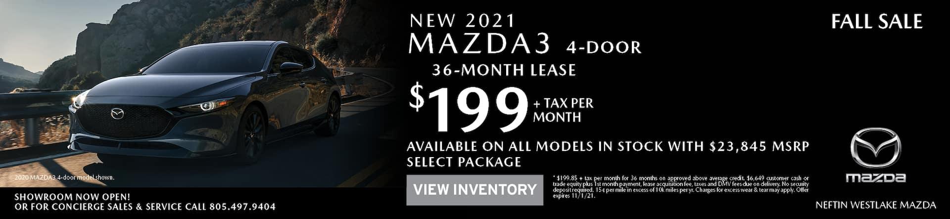 Neftin Westlake Mazda October '21 Mazda3 Sedan Lease Offer