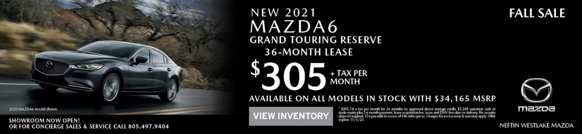 Neftin Westlake Mazda October 2021 Mazda6 Lease Offer
