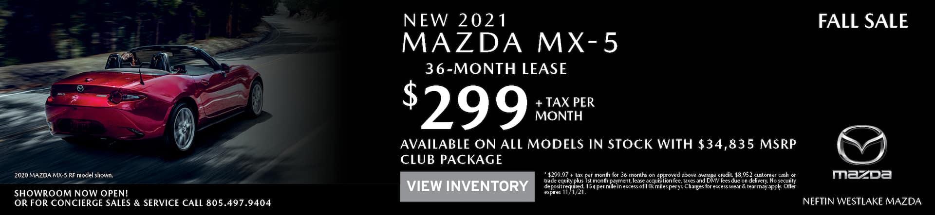 Neftin Westlake Mazda October 2021 MX5 Lease Offer