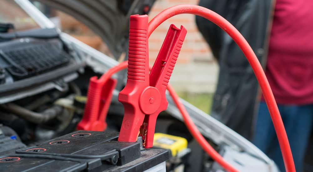 jumper cables charging car battery